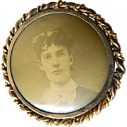 Gold filled- Victorian portrait pin