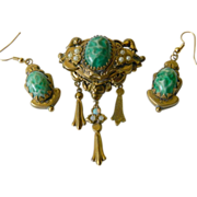 signed- Early Karu Fifth Avenue- brooch with Earrings