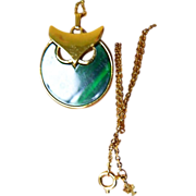 Crown Trifari signed Owl pendant with delicate Chain