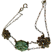 Intricate and dainty- Sterling and carved jadeite -Deco era bracelet