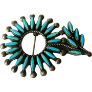 SALE Zuni- silver and Turquoise- needle point- Pin