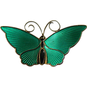 signed-David Andersen-Sterling and enameled-Butterfly Pin