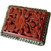 SALE Vintage- China cinnabar & silver-Dress clip
