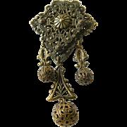 Vintage-1910-1930- Brass ornate Dress/fir clip