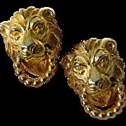 Signed Mimi D lion door knocker-Earrings