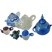 Adorable hand blown -Glass tea pot miniatures