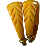 1930's carved Bakelite Earrings