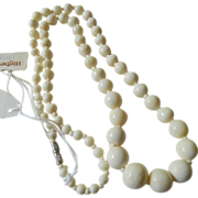 Hand carved- Bone beads-Necklace