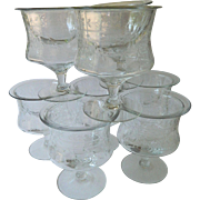 SALE Elegant Cut-etched Shrimp/dessert glasses With glass insert