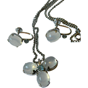 Silver with Moonstone- Pendant necklace and Earrings