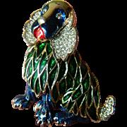 Very charming- Jeweled and enameled-signed Kramer Dog pin