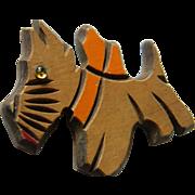 Adorable Folk art- wood Scotty dog pin