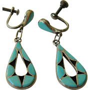Silver with Turquoise-Native American-inlaid earrings