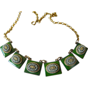 Arts and crafts-Copper-enamel- Brass necklace