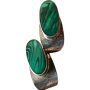 Taxco-sterling and Malachite earrings
