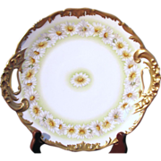 T.V. Limoges Hand Painted Daisies Cake Plate