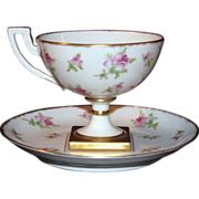 Jean Pouyat Limoges Pedestal Cup and Saucer, Pink Roses