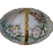Hand Painted William Guerin Limoges Basket/Candy Dish Artist signed