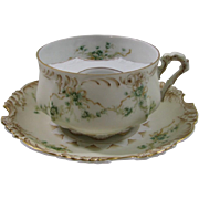 Large Moustache/Mustache Cup and Saucer by Hermann Ohme Eglantine