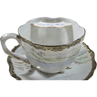 Rare Oriental Mustache/Moustache Cup and Saucer