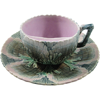 Etruscan Majolica Shell & Seaweed Mustache/Moustache Cup and Saucer, Circa 1880