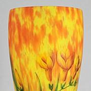 SOLD Lorrain Crocuses Enameled Vase by Daum
