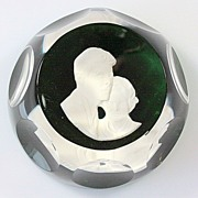 SOLD Cristal d'Albret John and Jackie Kennedy Sulfide Paperweight