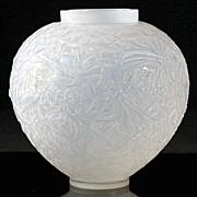 """SOLD Ren© Lalique Opalescent """"Gui"""" Vase"""