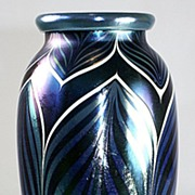 Orient & Flume Blue Iridescent Pulled Feather Pattern Vase