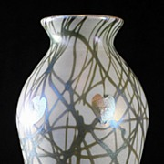 Quezal Hearts and Vine Pattern Vase