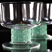 """SOLD René Lalique """"Chinon"""" Pattern Champagne Coupes"""