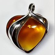 "SOLD Daum ""Aphrodite"" Amber Crystal Heart Pendant"