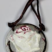 SOLD Argy Rousseau Rose Pattern Pate de Verre Sautoir