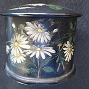 English Victorian Black Lacquer String Holder w/Daisies