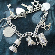 English Silver Charm Bracelet, Heart Closure, Star of David, Keys