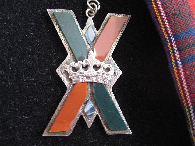 Large Victorian Scottish Silver St. Andrews Cross Jasper w/Crown