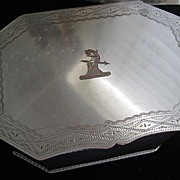 Large Silverplate on Copper Box with Etched Crest & Inscription