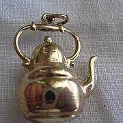 Large 9ct Rose Gold Hollow Teapot Charm