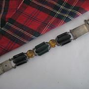 SALE SALE: Fabulous Victorian Scottish Silver Agate/Cairngorm Bracelet