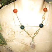 Sweet Little Scottish Victorian Necklace with Agate and Jasper