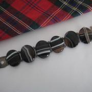 Victorian Scottish Black Banded Agate Bracelet w/Silver Buckle