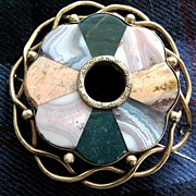 Large Scottish Victorian Agate Plaidie brooch