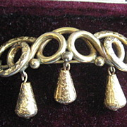 Victorian Gold Filled Brooch with Three Hanging Pieces