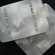REDUCED: Pair Vintage Mother-of-Pearl Shoe Buckles w/Rhinestones
