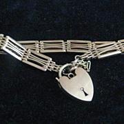 Vintage 9ct Rose Gold English Gate Bracelet w/Heart