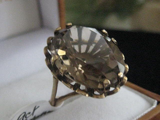 Large English 9ct Gold Ring with Topaz Stone,  Size 6.5