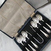 Vintage Boxed Set of EPNS Plate Teaspoons with Sugar Tongs