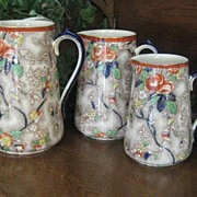 "SALE Three Graduated English Victorian Chintz Jugs by Corona ""Rosetta"""