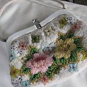 SALE SALE: Vintage Heavily Beaded White Purse w/Beaded Pearl Handle