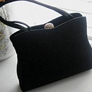 Beautiful Black H.L. USA Vintage Purse w/Rhinestone Top